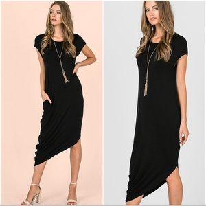Black  Asymmetrical mid dress with Pockets